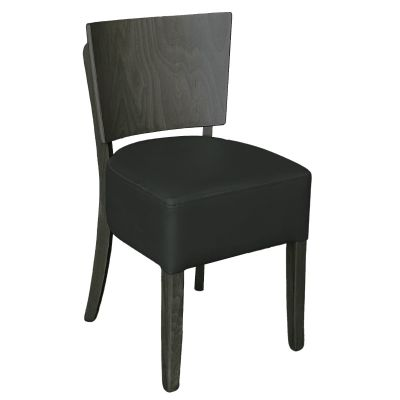 Memphis Solid Back Side Chair (Black / Driftwood)