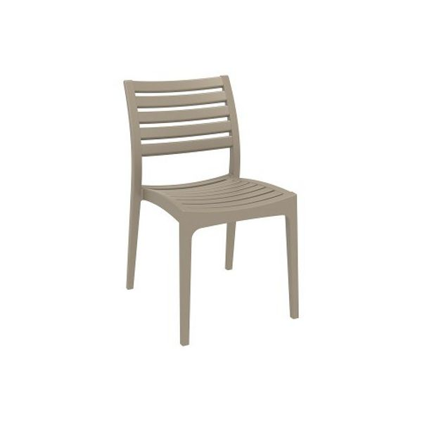 High quality indoor and outdoor plastic chair in the ares furniture range from Bellamy and Britton. Taupe in colour.