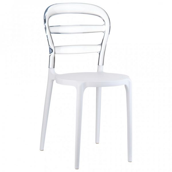 Bibi Side Chair (White/Clear Transparent)