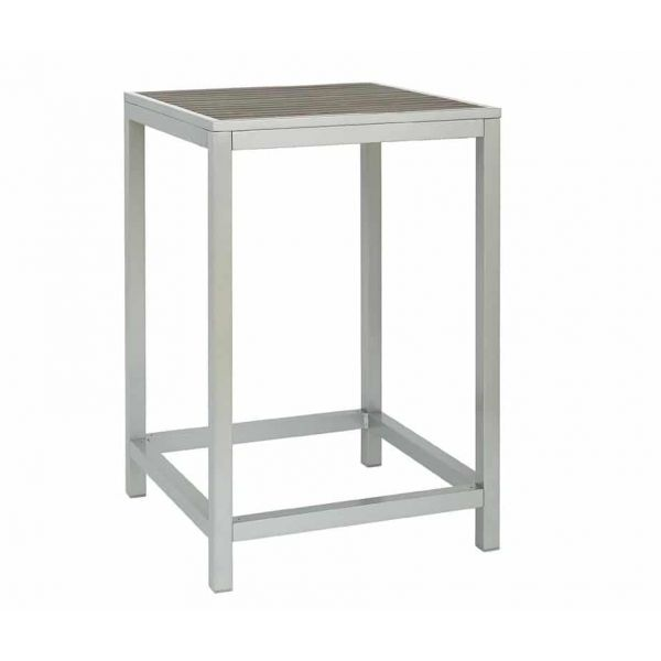 Brew Square High Table Silver/Teak