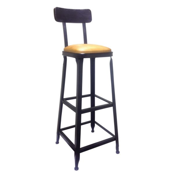 Industrial High Chair with Back (Black/Bronze)